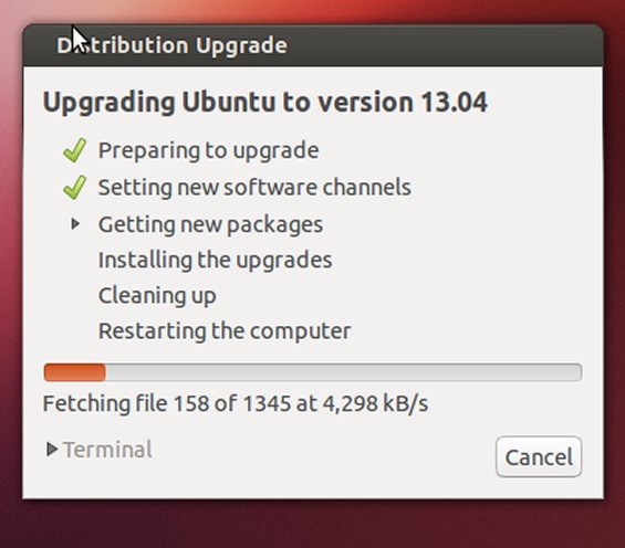 screen7 Upgrade to Ubuntu 13.04 Raring Ringtail in less than 20 minutes without problems